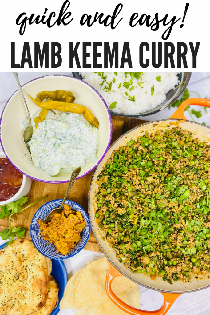 """lamb keema served with boiled rice, mint raita, mini naan breads, lime pickle and popadoms. Text overlay reads """"quick and easy lamb keema curry"""""""