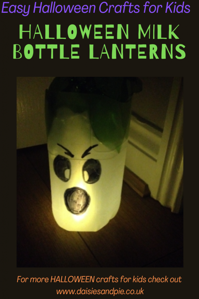 """homemade DIY Halloween lantern made from a milk bottle. Text overlay """"easy Halloween crafts for kids - Halloween milk bottle lanterns - for more Halloween crafts for kids check out www.daisiesandpie.co.uk"""""""