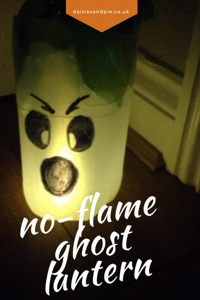halloween milk bottle lanterns | Flame free ghost lantern craft for Halloween, Easy Halloween crafts for kids, homemade Halloween decorations