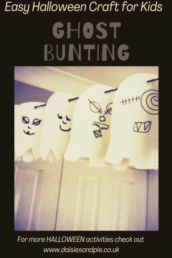 """homemade halloween bunting - paper ghost bunting strung across a room. Text overlay """"easy halloween craft for kids - ghost bunting - or more halloween activities for kids visit www.daiseisandpi.co.uk"""""""