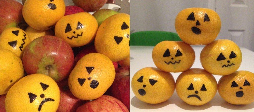 halloween tangerines, edible halloween decoration, easy halloween decoration, tangerines