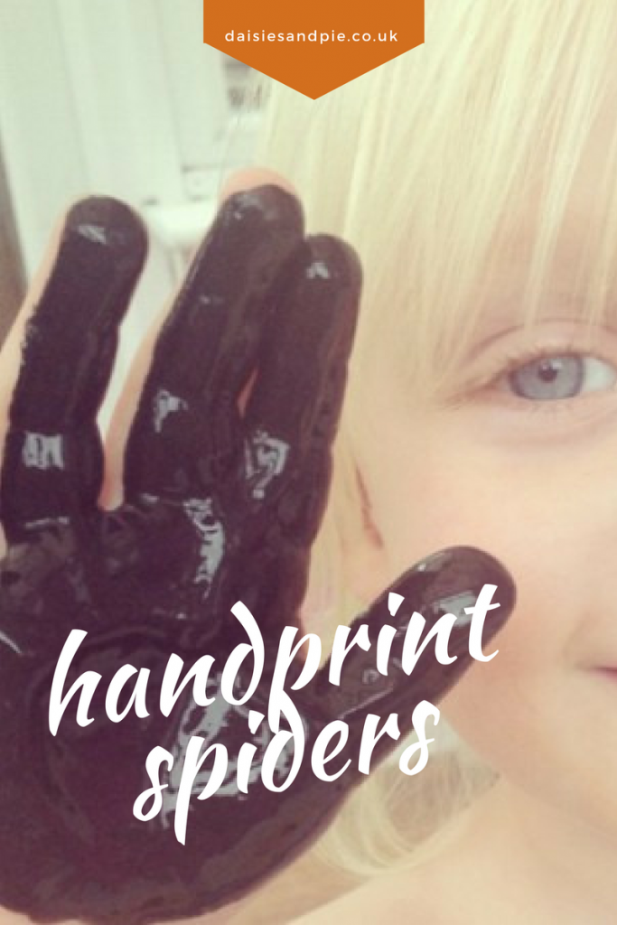 Super cute Halloween craft for kids, handprint spiders, easy halloween activities for kids