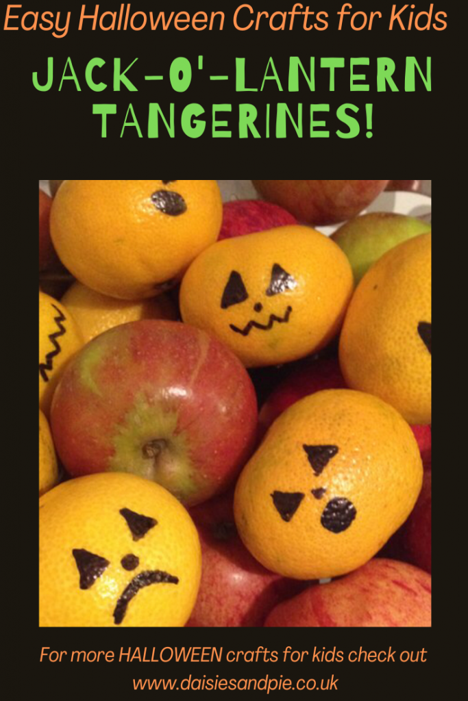 """pile of apples and tangerines. The tangerines have jack o lantern faces drawn on them with black marker pen. Text overlay """"easy halloween crafts for kids. Jack o'lantern tangerines"""""""