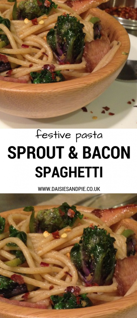 Festive pasta recipe for sprout and bacon spaghetti, easy weeknight dinner ideas