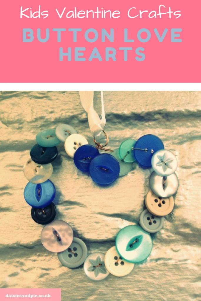 Kids Valentines Day craft - button hearts
