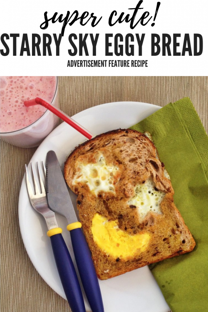 eggy bread with a star and moon shape cooked into it - served with strawberry smoothie