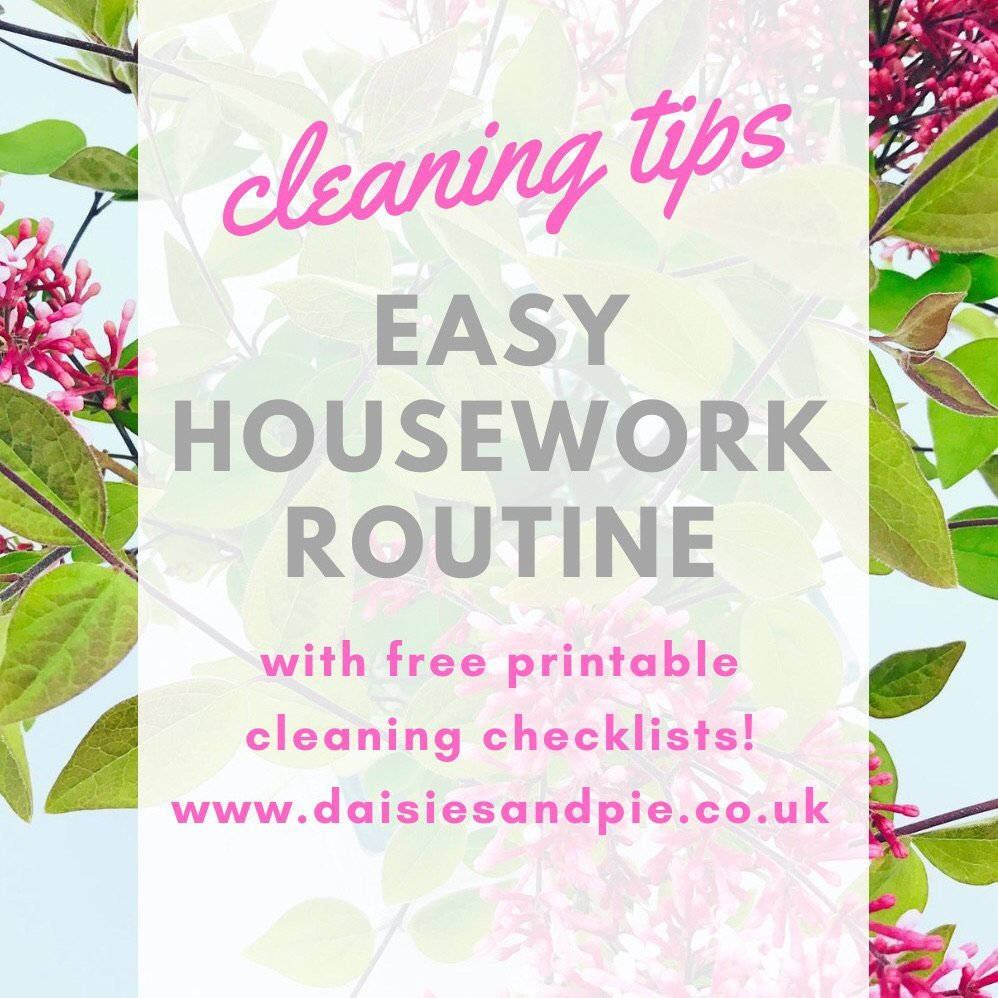 "vase of lilacs Text overlay""cleaning tips - easy housework routine with free printable cleaning checklists - www.daisiesandpie.co.uk"""