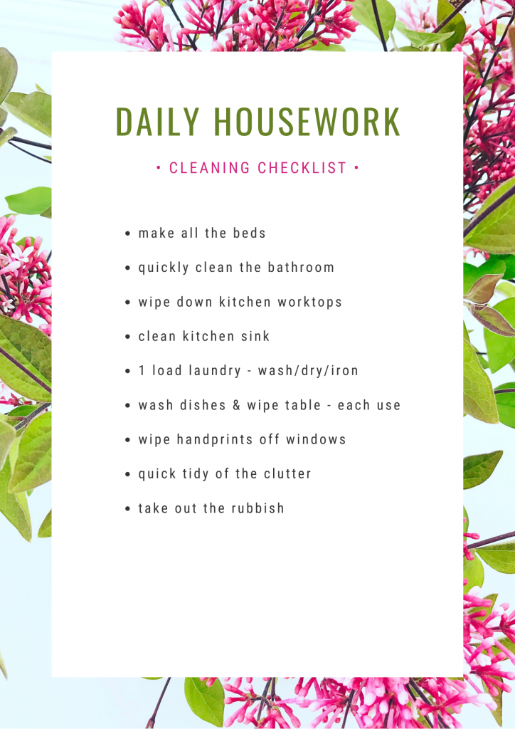 daily cleaning schedule with list of daily housework chores