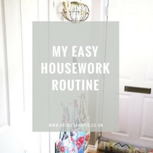 """White hallway with IKEA picture shelves and row of hooks holding Cath Kidston bags - text overlay saying """"my easy housework routine"""""""