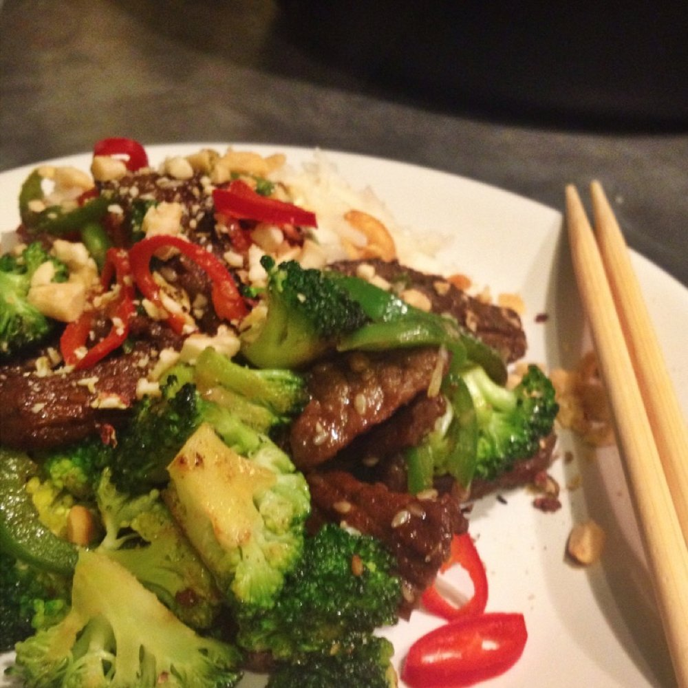Szechuan beef and broccoli