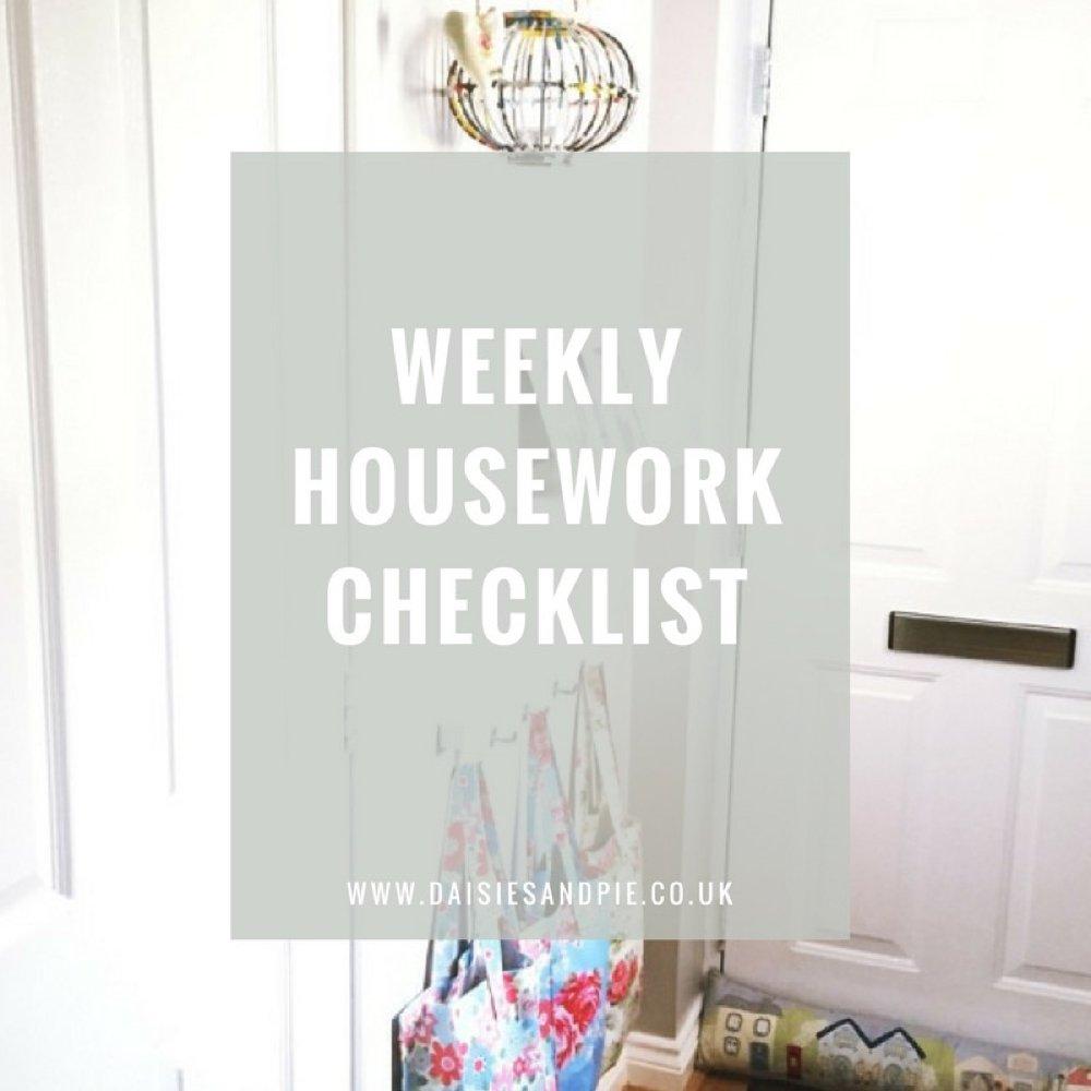 Weekly housework checklist