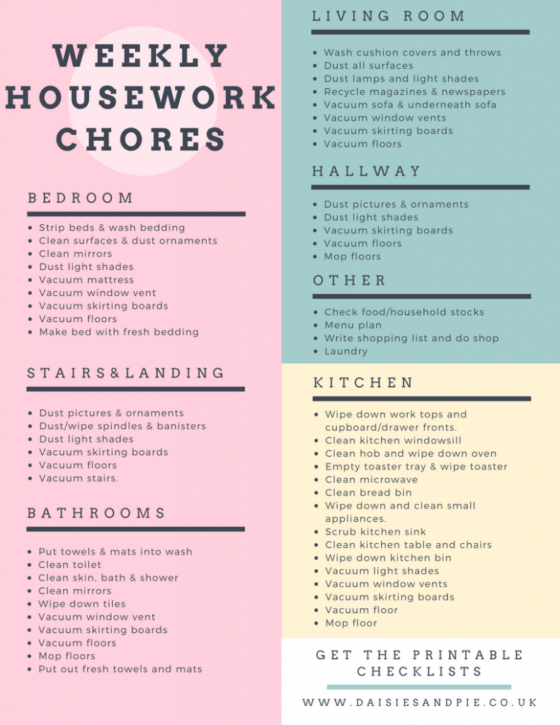 printable weekly housework checklist broken down room by room