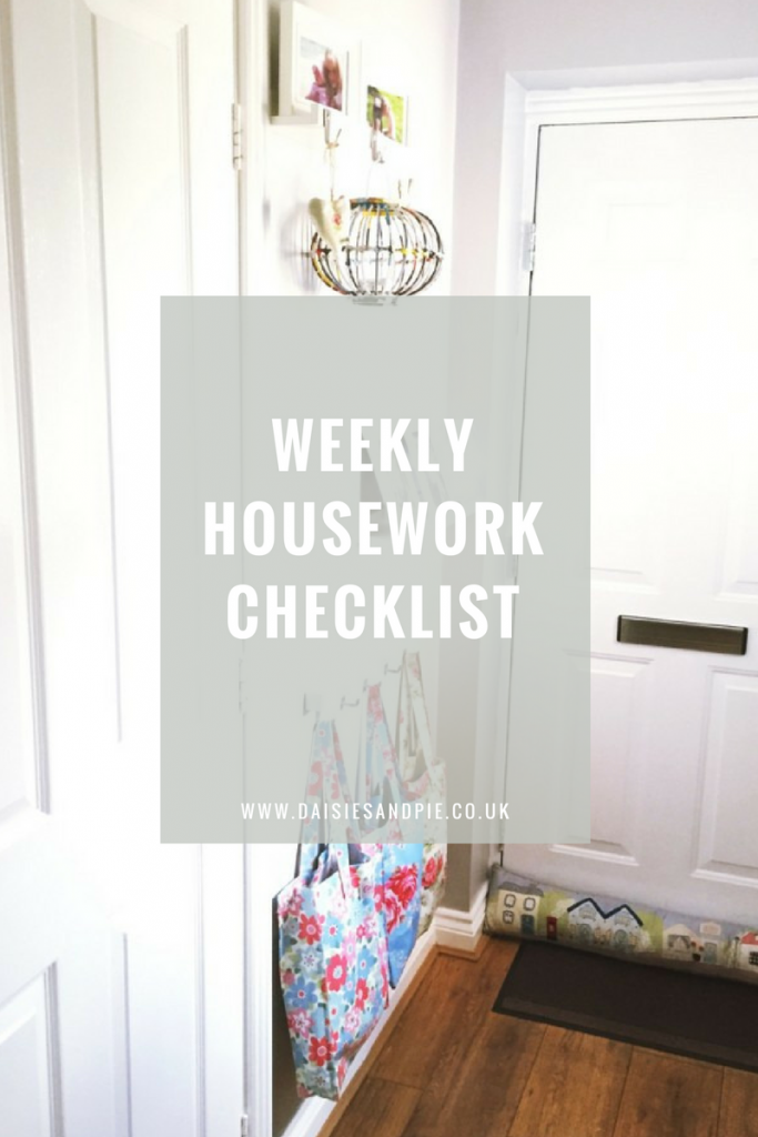 """Bright white hallway with picture shelves and a row of hooks with Cath Kidston bags hanging from them. Text overlay saying """"weekly housework checklist"""""""