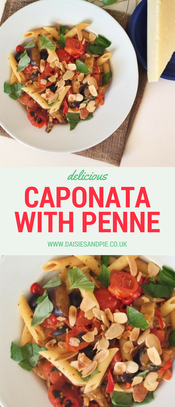 Caponata with pasta, easy pasta recipes, summer dinner recipes