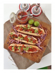 gourmet hotdog recipe, mexican hotdog recipe, guacamole recipe, mexican roast tomato salsa recipe, jalapeño coleslaw recipe, real family food