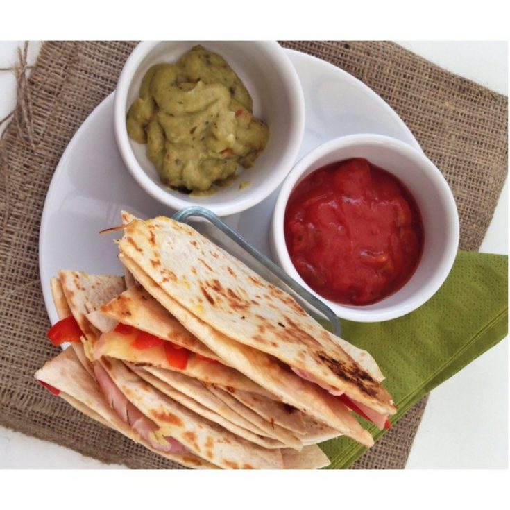 Ham and pepper quesadillas