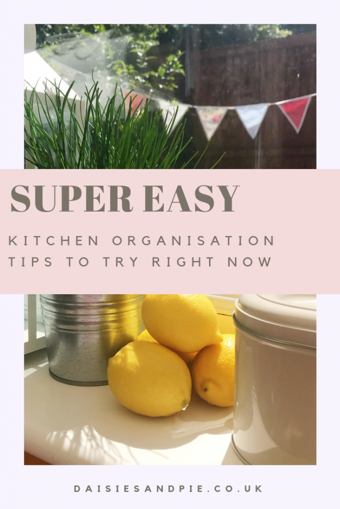 "organised kitchen windowsill with storage tubs and herbs. Text overlay saying ""super easy kitchen organisation tips to try right now"""