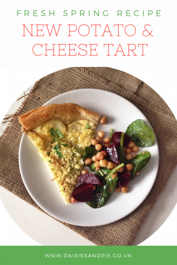 slice of potato and cheese tart alongside a beetroot and chickpea, spinach and chickpea salad. Text overlay saying fresh spring recipes new potato and cheese tart""