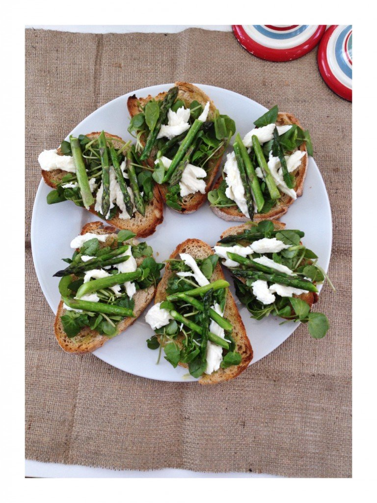 Asparagus and watercress bruschetta