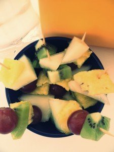 mini fruit kebabs recipe, kids breakfast recipe, packing in more fruit