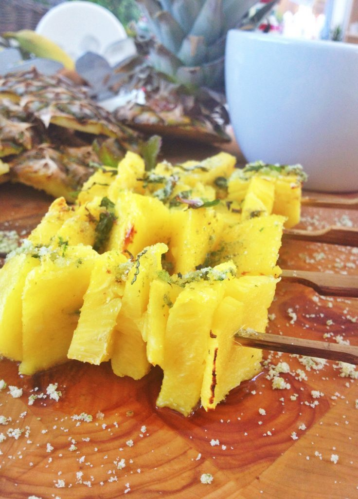 pineapple skewers sprinkled with mint sugar