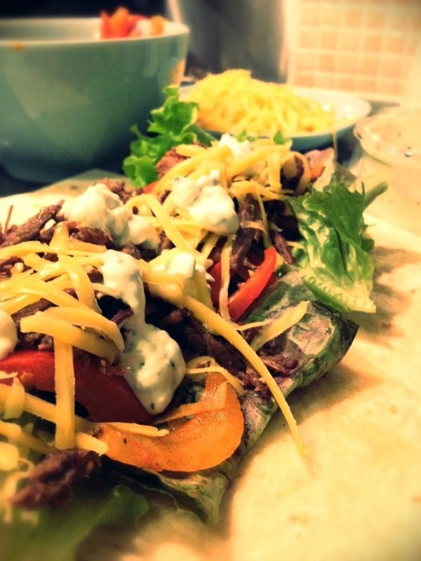 beef fajita recipe, love your leftovers recipe, leftover roast beef recipe, double gloucester cheese