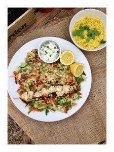 yogurt marinade recipe, garlic and coriander chicken kebab recipe, easy kebab recipe, indian salad recipe