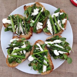 Cook up a delicious Italian family recipe with our bruschetta topped with asparagus and watercress, fresh and tasty spring recipes, heathy family recipes