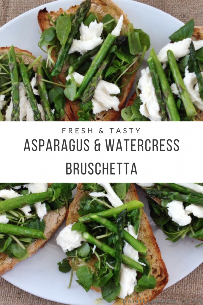 "plate filled with asparagus and watercress bruschetta. Text overlay saying ""fresh and tasty asparagus and watercress bruschetta"""