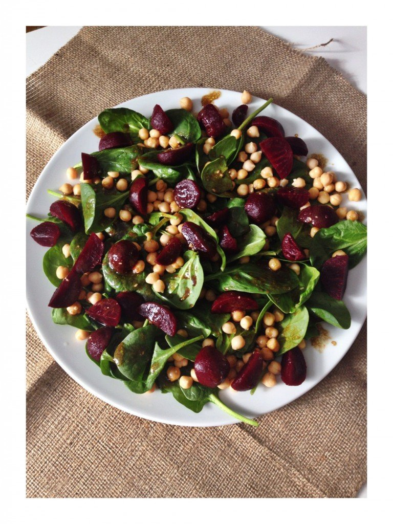 beetroot salad with chickpeas and spinach served with a balsamic and mustard dressing