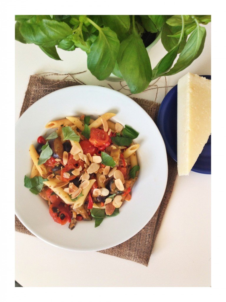 freshly made caponata tossed through penne pasta and scattered with flaked almonds