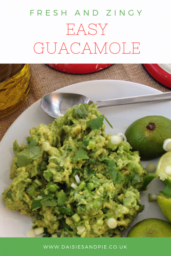 "homemade guacamole with coriander, spring onions and limes. Text overlay saying ""fresh and zingy easy guacamole"""