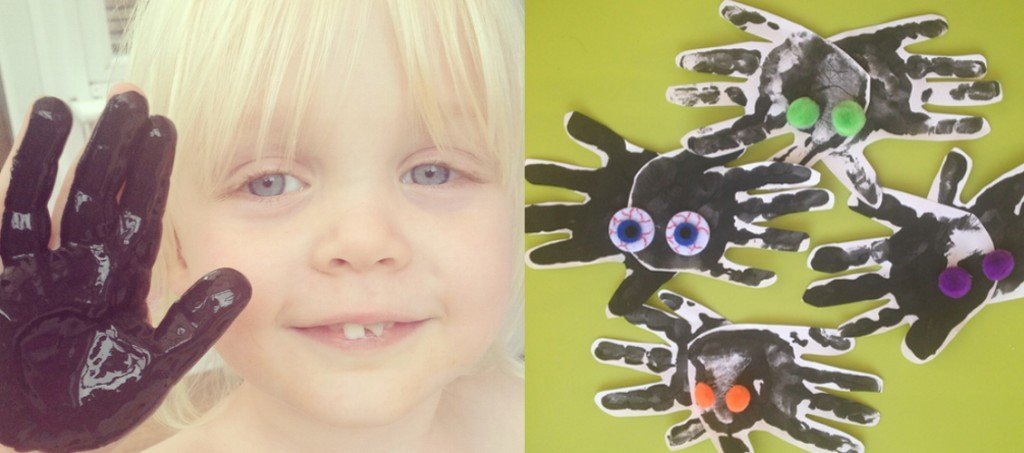 handprint spiders, halloween decoration, halloween for toddlers, handprint painting