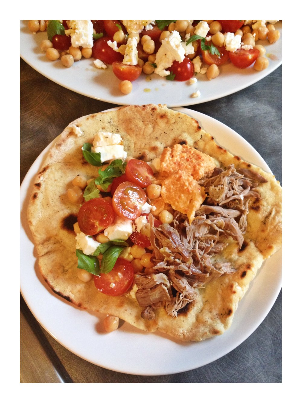 slow cooked garlicky lamb, river cottage garlic flatbreads, tomato and chickpea salad, real family food