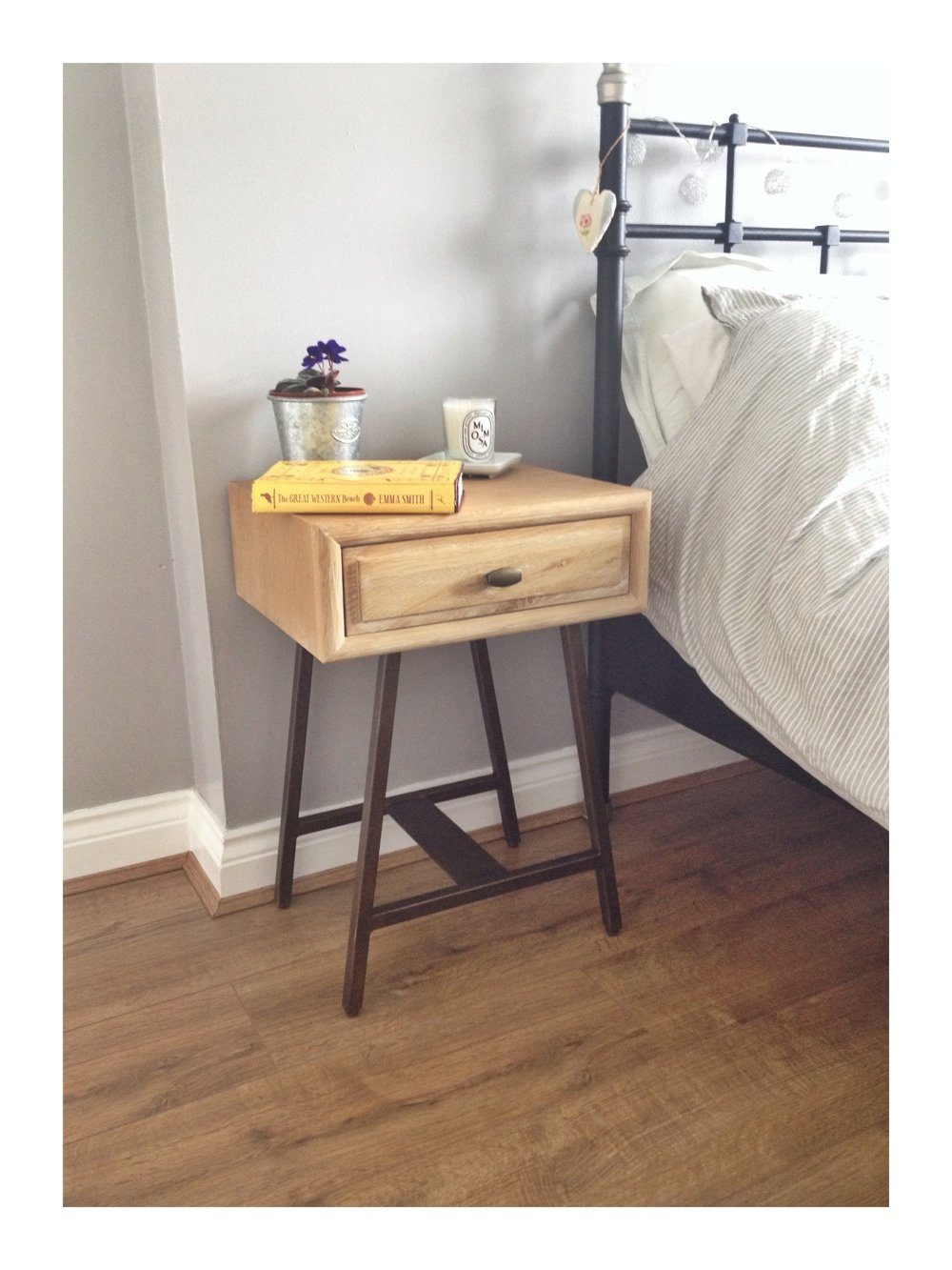 Bedroom makeover update the bedside table daisies pie for Bedroom table chairs