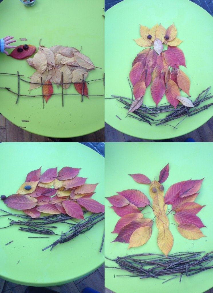 autumn leaf animals, autumn art, natural art for kids, 50 things
