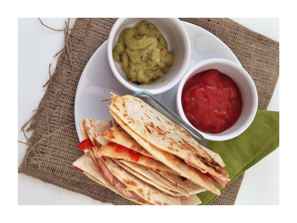 ham and pepper quesadillas served with Old El Paso relish
