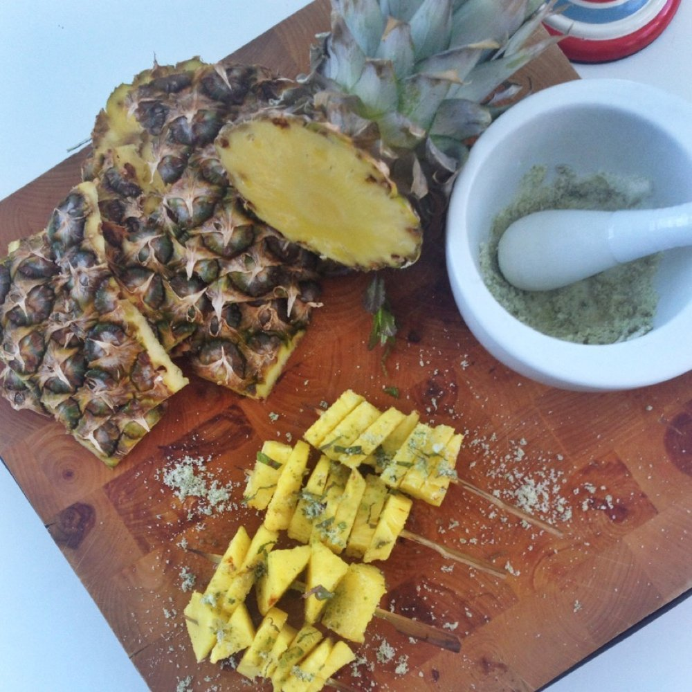 Minty pineapple skewers for the BBQ