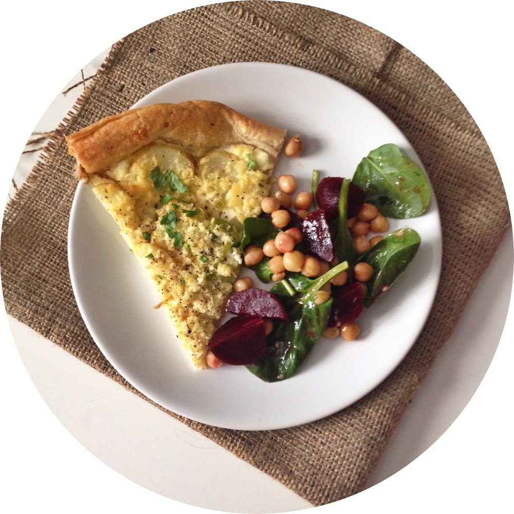 crumbly lancashire cheese, dewlay, cheese and potato tart recipe, beetroot salad recipe, chickpea salad recipe, vegetarian tart recipe