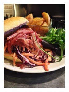 slow cooker pulled ham recipe, homemade slaw recipe, real family food, potato wedges