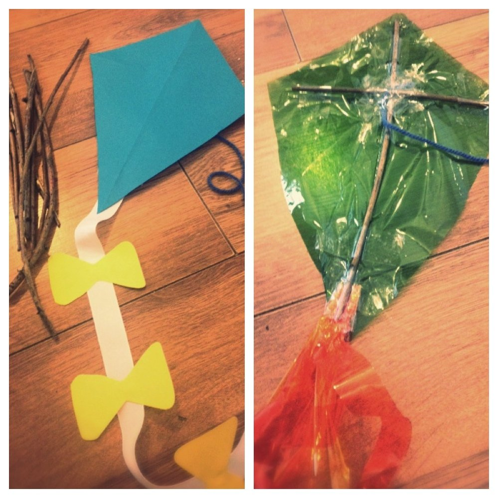 how to make a paper kite - paper kites made with sticks, paper and strings