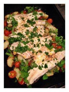 sea bass tray bake recipe, easy sea bass recipe, sainsburys taste the difference anya potatoes
