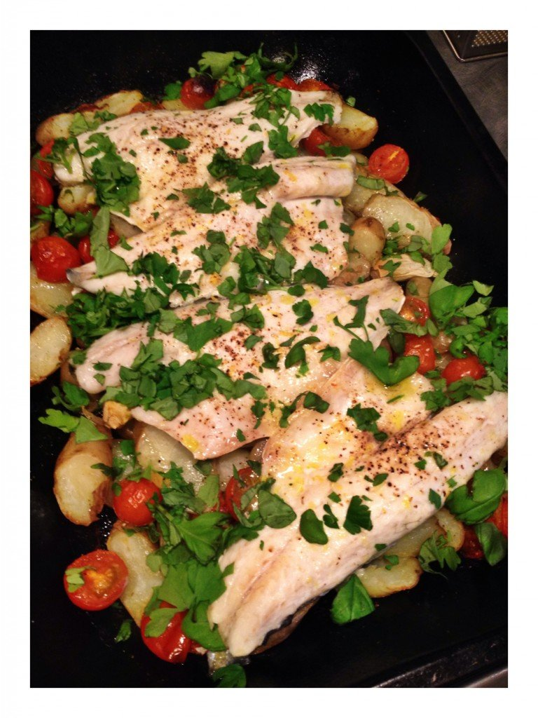 sea bass tray bake recipe, easy sea bass recipe, sainsburys taste the difference anya potatoes