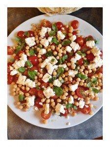 tomato salad recipe, chickpea and feta salad recipe, main course salad recipe