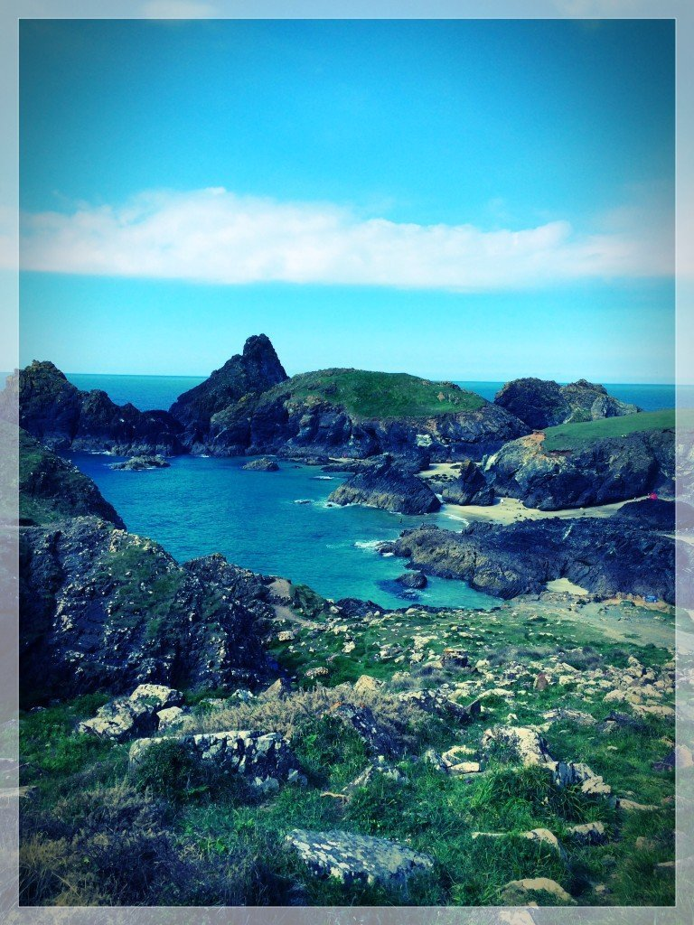 view looking down on Kynance Cove from the cliff path.