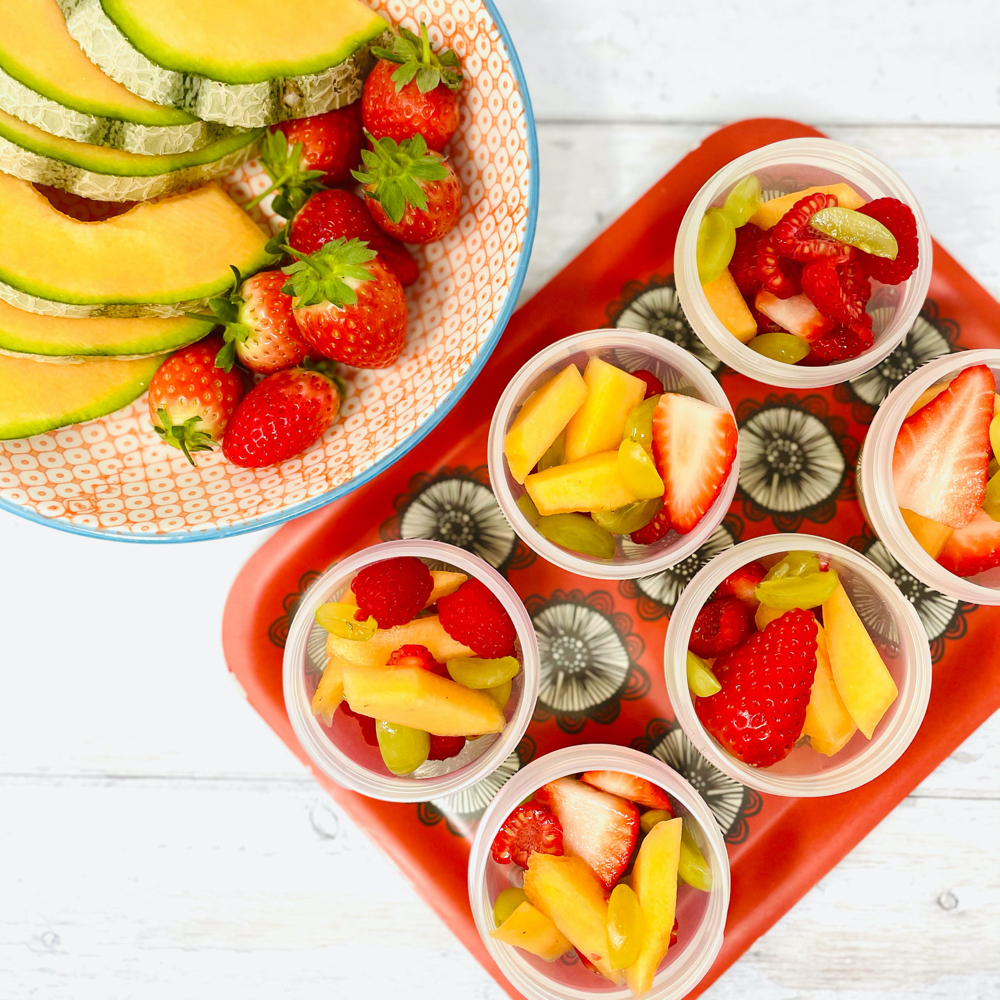 fresh fruit salad pots - mini pots of fruit salad for kids to eat as grab and go snacks