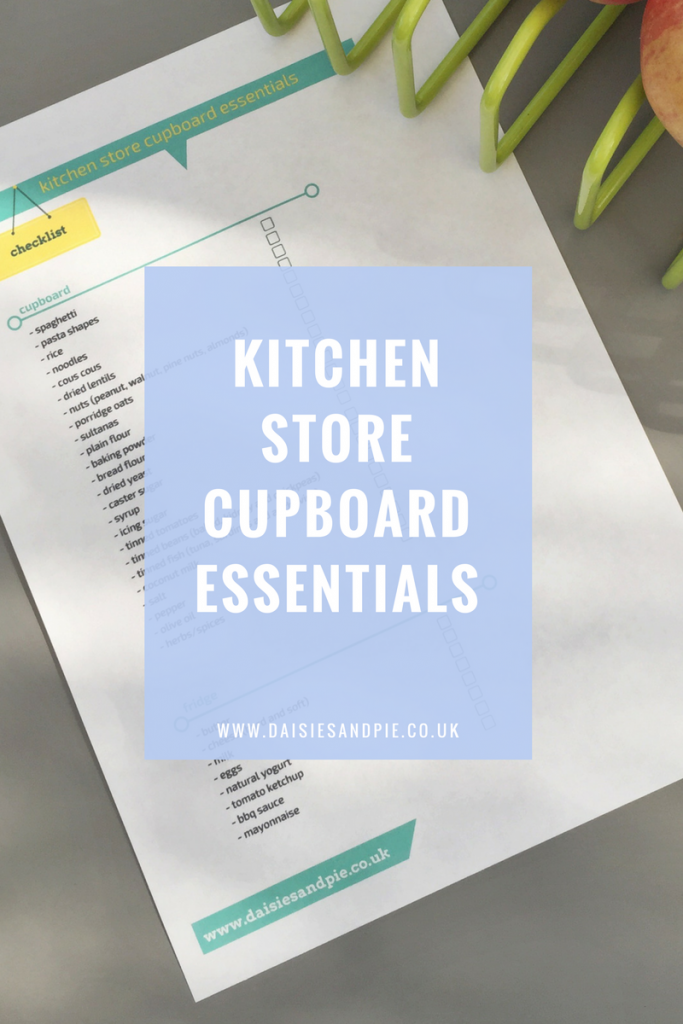 Kitchen store cupboard essentials, kitchen basics checklist, homemaking printable