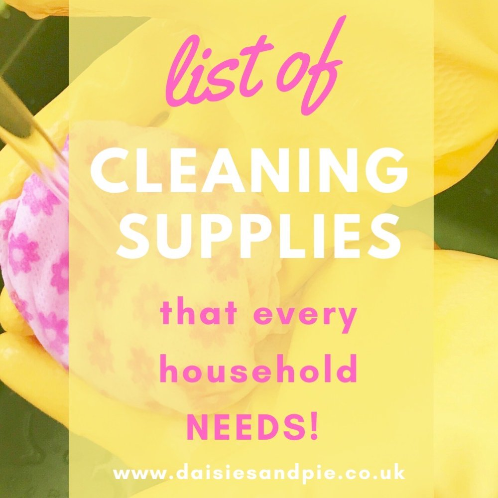 "yellow rubber gloves on hands rinsing a pink cleaning cloth under the water. Text ""list of cleaning supplies that every household needs"""