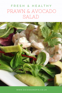 "platter of prawn and avocado salad with healthy yogurt dressing. Text overlay saying "" Fresh & Healthy prawn and avocado salad"""