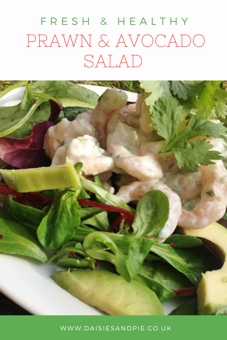 platter of prawn and avocado salad with healthy yogurt dressing. Text overlay saying